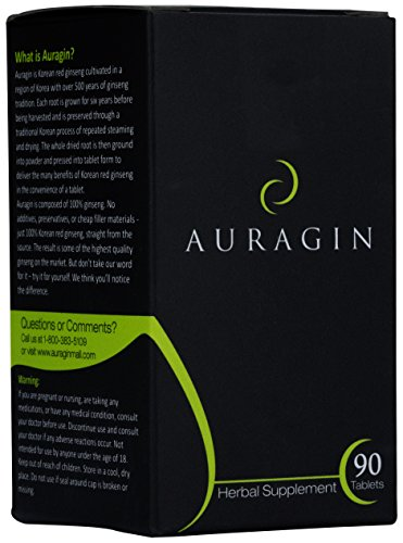 Auragin: Authentic Korean Red Ginseng – Made in Korea – 6 Year Roots, 8% Ginsenosides – No Additives or Other Ingredients – 100% Red Panax Ginseng in Every Tablet