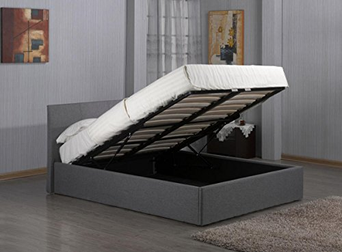 Kelsey Stores 3ft, 4ft, 4ft6, 5ft Fusion Grey Linen Fabric Ottoman Storage Bed Double Single King Storage Bed ltd(4FT6 Double Storage Bed)