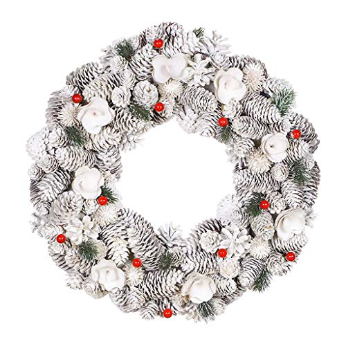 Dibor White & Red Front Door Wreath Large Wall Hanging Garland Ornament