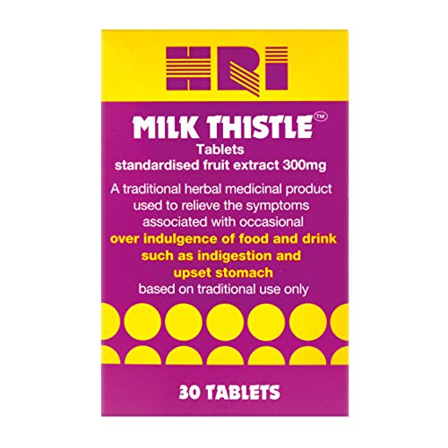 HRI Milk Thistle Tablets. 300 Milligrams. Highest Approved Dose of Milk Thistle on The UK Market. to Relieve Symptoms of Overindulgence of Food and Drink, Indigestion, Upset Stomach. 30 Tablets