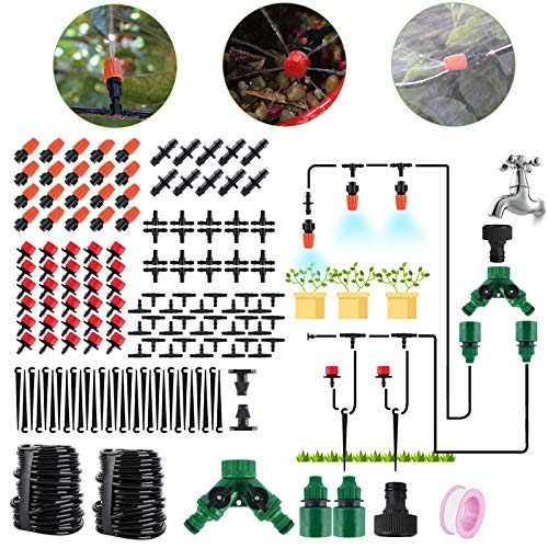BORUIT 30M DIY Auto Drip Irrigation Kit,100FT Irrigation Pipe, Irrigation Sprinklers,Perfect Drip Watering System Garden Plant Watering Devices for Flower Bed, Patio, Garden Greenhouse Plants