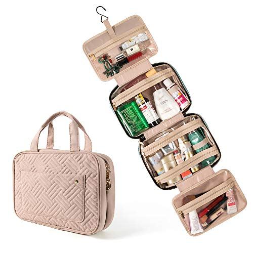 Hanging Travel Toiletry Bag, Large Cosmetic Organizer Bag Portable Make up Wash Bag with 4 Compartments 1 Sturdy Hook for Women, Men, Girls, Business Trip (Pink)