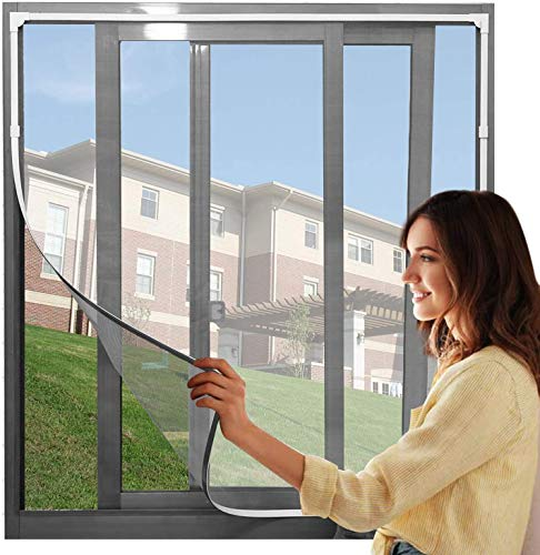 """Adjustable DIY Magnetic Fly Screen Window Max 48"""" x 43""""Fits Any Size Smaller DIY Easy Installation Keep Bugs/Flys/Mosquitoes Out(White Frame with Grey Net)"""