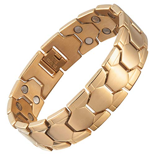 Premium Gold Geometric Titanium Magnetic Bracelet for Men & Women with Link Removal Tool by Bislinks - Designed to Relive The Symptoms of Arthritis & Carpal Tunnel Joint Pain Relief Magnet Bracelets