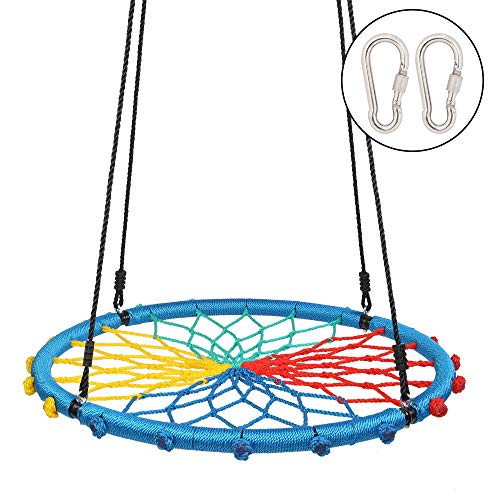 JOYMOR 40 Inch Over 600 lbs Net Spider Web Round Rope Swing with Adjustable 6Ft Hanging Staps,2 Carabiners Great for Swing Set, Backyard, Playground, Playroom (Colorful)