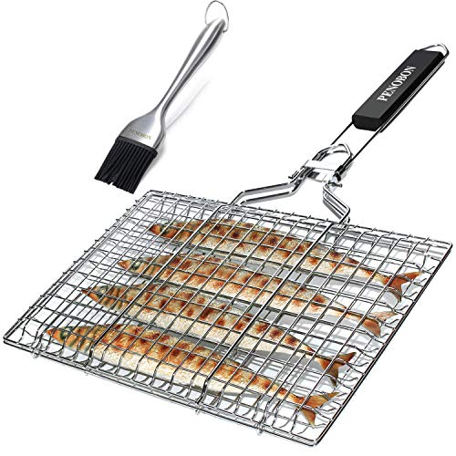 penobon Fish Grilling Basket, Folding Portable Stainless Steel BBQ Grill Basket for Fish Vegetables Shrimp with Removable Handle, Come with Basting Brush and Storage Bag (A)