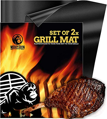 MOUNTAIN GRILLERS BBQ Grill Mat Non Stick - Heavy Duty BBQ Grilling Mats for Gas Grill or Charcoal - Nonstick Grill Mats for Easy Use - Reusable Set of 2