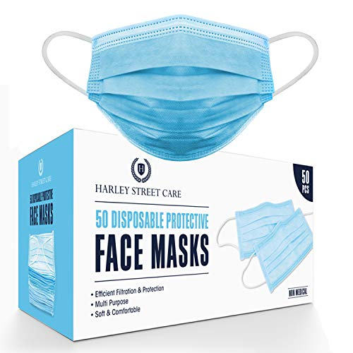 Harley Street Care Disposable Blue Face Masks Protective 3 Ply Breathable Triple Layer Mouth Cover with Elastic Earloops (Pack of 50)