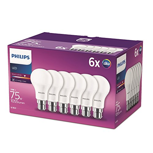 Philips LED B22 Frosted Light Bulbs, 11 W (75 W) - Warm White, Pack of 6