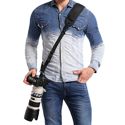 waka Camera Shoulder Strap, Anti-slip Over Shoulder Camera Sling Strap Quick Release with Safety Tether, Comfortable Camera Neck Strap for DSLR Camera (Canon Nikon Sony Olympus Pentax, Etc.)