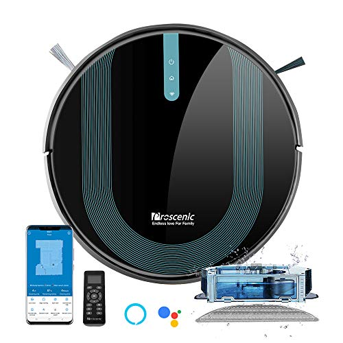 Proscenic 850T Robot Vacuum Cleaner, 3000Pa Strong Suction Robotic Vacuum and Mop, App and Alexa Voice Control, Super Thin, Boundary Strips Included, Self-Charging, for Hard Floor & Low Pile Carpet
