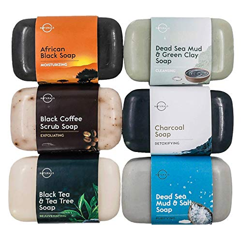 O Naturals 6-Piece Black Bar Soap Collection. 100% Natural. Organic Ingredients. Essential Oils Helps Acne Skin Moisturizes, Deep Cleanse, Face Hands Body Soap Women & Men. Triple Milled Vegan 4oz