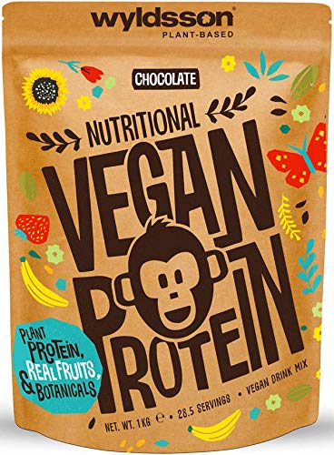 Vegan Protein Powders (28 Servings, 1kg) - All Natural Vegan Protein Shake High in Iron & Zinc with Fruits, Botanicals & Plant Based Protein Powder, Gluten Free, Dairy Free, Lactose Free (Chocolate)