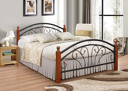 7 Star Ps102 Metal Frame Bed with metal Base and Solid Wooden Legs in Dirty Oak and White (Walnut-Black, Double (4ft6