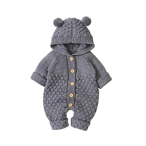 VICROAD Baby Hooded Knitted Rompers Newborn Girls Boys Onesies Warm Sweater Jumpsuit Outfits, Grey, 3-6 Months/66 cm