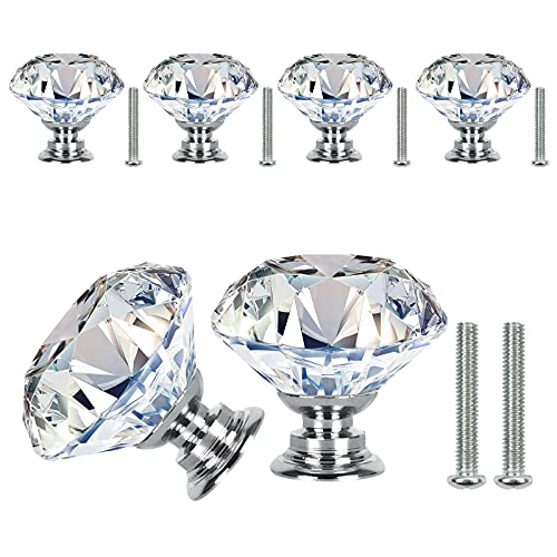 VIPMOON Crystal Door Knobs, 6 Pcs 30mm Clear Crystal Glass Diamond Door Knobs with Screw for Cabinet Drawer Handle Home Decorating