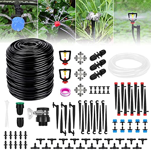 Buluri Garden Irrigation Systems, 40M + 3M Automatic Drip Irrigation Kit DIY Watering System Indoor & Outdoor with Adjustable Nozzle for Garden Greenhouse Patio Lawn