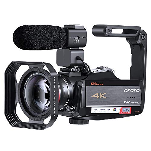 ORDRO 4K Camcorder Video Camera Ultra 1080P 60FPS Vlog Camera 12X Optical Lens 3.1'' IPS Touch Screen WiFi Digital Camera Recorder with Microphone Wide Angle Lens and 32GB SD Card