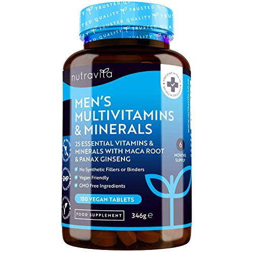 Men's Multivitamins and Minerals - 25 Essential Active Vitamins and Minerals with Added Maca Root and Panax Ginseng - 180 Vegan Tablets - No Synthetic Fillers or Binders - Made in The UK by Nutravita
