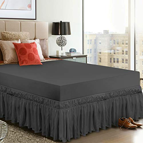 Utopia Bedding Elastic Bed Valance Skirt with Ruffles - Soft Brushed Microfiber Ruffle Drop: 40 cm - (Double 135 x 190 cm, Grey)