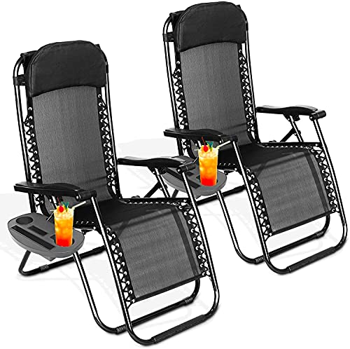 FiNeWaY® Set of 2 Folding Zero Gravity Sun Lounger Textoline Chair Garden Sun Bed Reclining With Side Tray Table For Holding Drink - Perfect for Home, Patio, Decking, Holiday, Beach