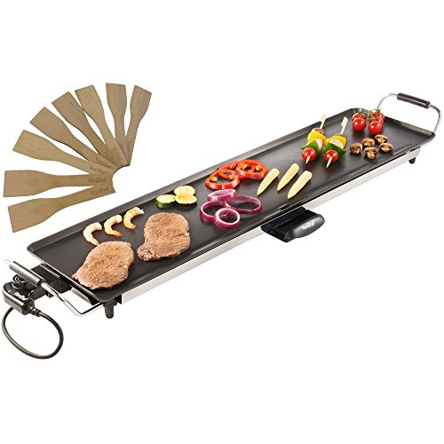 VonShef XXL Teppanyaki Grill - 2000W Electric, Multipurpose, Easy-to-Clean BBQ Table Top Grill with Adjustable Temperature Control, Oil Drip Tray & 8 Spatulas- for Meat, Vegetables & Fish