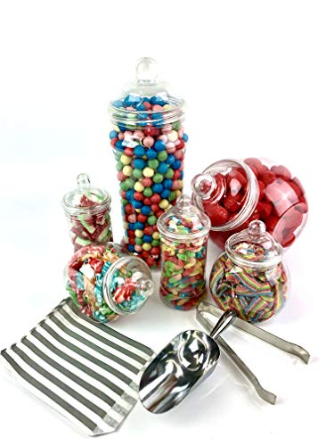 Vintage Victorian Pick & Mix Candy Buffet Kit - 6 Jar Pack & Silver Stripe Bags
