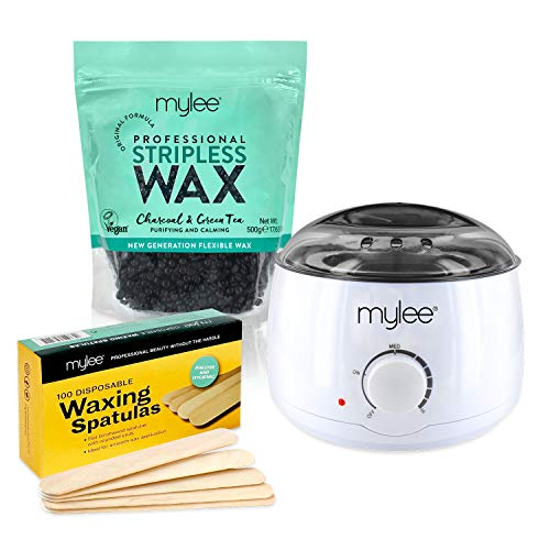 Mylee Professional Waxing Kit with Wax Heater, Hard Wax Beads 500g, Spatulas - Stripless Depilatory Waxing Pellets Solid Film Beans No Strip Needed (Charcoal & Green Tea)
