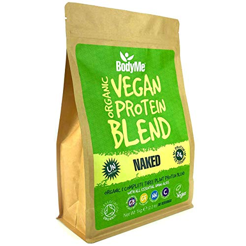 BodyMe Organic Vegan Protein Powder Blend   Naked Natural   1kg   UNSWEETENED   Low Carb   with 3 Plant Based Vegan Protein Powders   24g Complete Protein   Gluten Free   All Essential Amino Acids