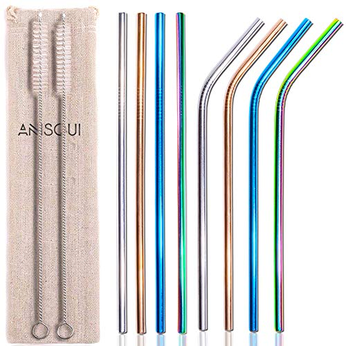 Set of 8 Reusable Metal Straws and Cleaner, 8.5'' Coloured Stainless Steel Straws Reusable, (4 Straight + 4 Bent + 2 Brushes Reusable Straws Drinking) by AniSqui