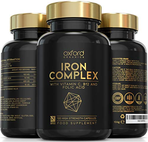 Vegan Iron Tablets High Strength   120 Daily Gentle Iron Tablets 14mg   Iron Supplements for Women & Men   1 a Day Ferrous Fumarate, Vitamins C, B12 & Folic Acid Iron Supplement Capsules   Made in UK