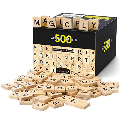 Magicfly 500 Pcs Scrabble Wood Letter Tiles, Wooden Tiles A-Z Capital Letters Perfect for Art & Crafts, Letter Tiles, Spelling, DIY Projects
