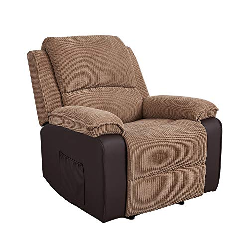 Panana Jumbo Cord Fabric Recliner Armchair Lounge Home Reclining Chair for Living Room Bedroom, Brown Arm Chair (Brown)