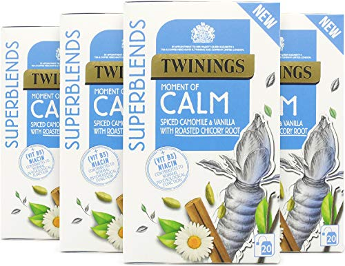 Twinings Superblends Calm Tea with Spiced Camomile, Vanilla & Roasted Chicory Root, 80 Teabags (Multipack of 4 x 20 Bags)