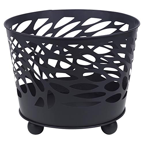 URBN-CHEF Black Metal Fire Basket Bowl for Barbecue, Garden Decor & Outdoors Fire Pit