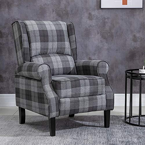 BOJU Comfy for Living Room Recliner Chair Armchair Rustic Reclining Fireside Chair Fabric Upholstered Leisure Chairs Wing Back with Arms Lounge Bedroom Home Cinema Gaming (Grey Tartan)