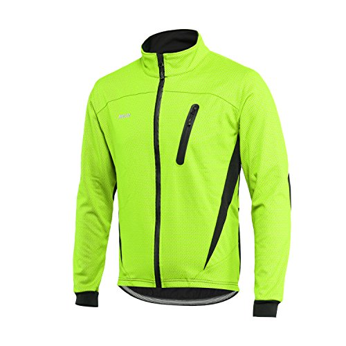 ARSUXEO Cycling Jacket Mens Waterproof Windproof Reflective Winter Thermal Softshell Coat 16H Green M