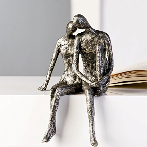 Designer Figure Sculpture of Couple Sitting on Edge H 25 x W 18 in Antique-Look Silver