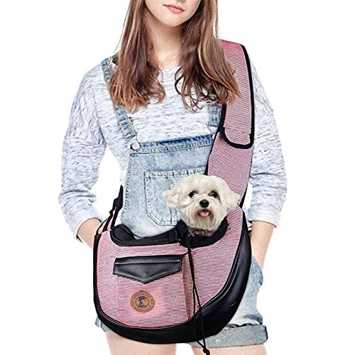 MQFORU Pet Sling Carrier Small Dog Cat Carrier Puppy Shoulder Bag Travel Tote Hands Free Collapsible Sling Backpack (Pink)