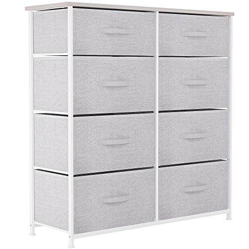 YITAHOME Chest of Drawers, Non-Woven Fabric 8-Drawer Storage Organizer Unit for Bedroom Living Room Closet, Sturdy Steel Frame, Easy Pull Fabric Bins & Wooden Top, Fabric Dresser