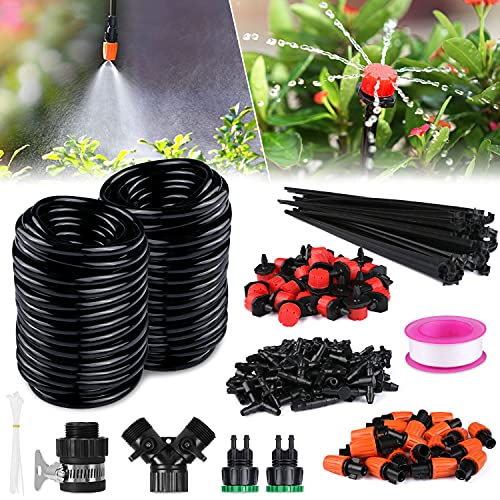 TedGem Drip Irrigation System,30m Kit Drip Irrigation Watering System Micro Drip Irrigation Automatic Watering System Drip Adjustable Equipment Tool Dripper Head Slow Release for Outdoor Indoor Use
