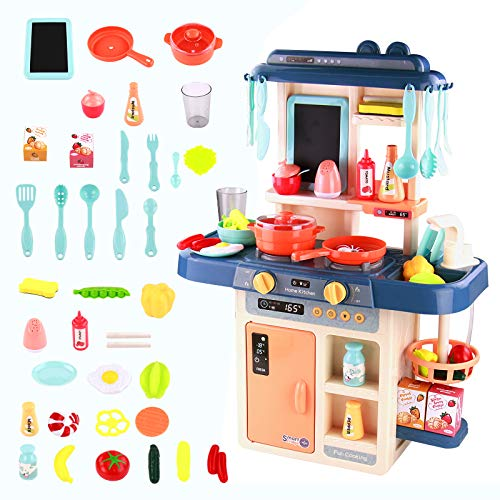 Toy Kitchen Kids Cooking Set-Toy Play Kitchens with Pots and Pans Sets for Children,Kidkraft Kitchen 42pcs Accessories Birthday Gifts Pretend Role Play Kitchen Toys for 3 4 5 Year Old Girls Boys Kids