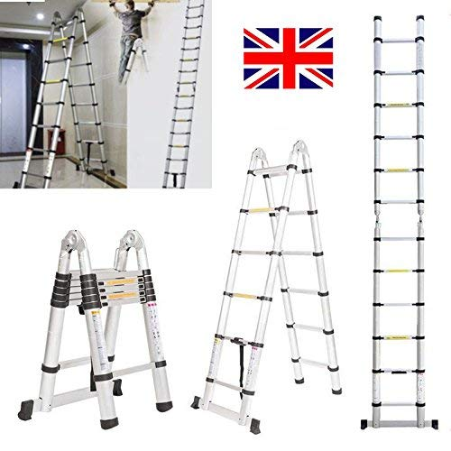 2019 Aluminum 3.8m/12.5ft Folding Telescopic Ladder Extendable 16 Steps, Can Be Straight Or A-Frame Ladder