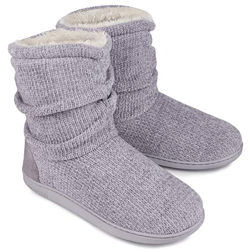 LongBay Ladies Bootie Slippers Memory Foam Fur Collar Bootee Plush Lined Women Boots with Non Skid Indoor Outdoor Sole, 5/6 UK, New Grey