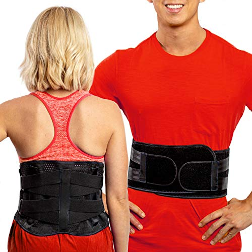 FlexGuard Back Support Brace for Women And Men - Lumbar Belt for Lower Back - Strong Compression Therapy, Pain Relief, Pockets for Heat or Ice Packs