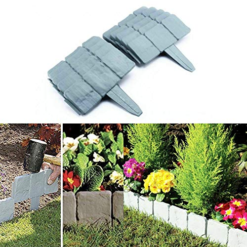 ADEPTNA 20 Pack Interlocking Garden Edging Cobbled Stone Effect Plastic Lawn Plant Border Just Hammer IN – Ideal for Borders Flowerbeds Paths and Lawns – Create Any Shape Up to 16ft Long