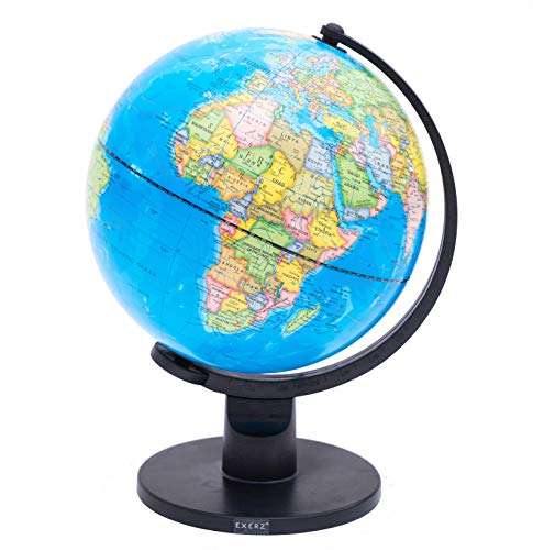 Exerz 25cm World Globe Educational Political Map Swivel Rotating Desk Top Globe - Geography Learning Home School Office Decoration - Diameter 25cm