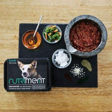 NUTRIMENT ENHANCED ADULT WORKING DOGS Raw Food (10 Tray pack) Frozen, Complete Premium BARF Diet Wet Dog food, Gluten-Free, Raw Protein, Digestible, All breeds, Sizes - 11.023 lb Lamb