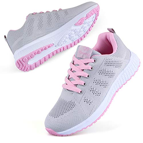 Youecci Women Lightweight Walking Shoes Ladies Lace Up Sneakers Mesh Go Running Trainers Low Top Breathable Athletic Walk Gym Shoes Grey Pink, 5 UK
