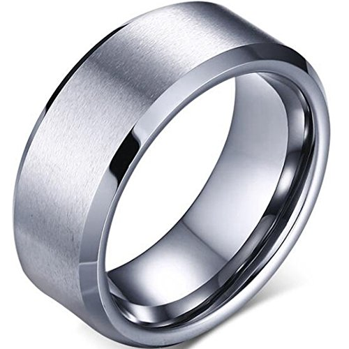 8mm Stainless Matte Brushed Classical Simple Plain Wedding Band Ring (Silver, 8)